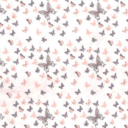 Σεντόνι Μεμονωμένο Λίκνου 80X110 Dimcol Butterfly 61 Coral Χωρίς Λάστιχο
