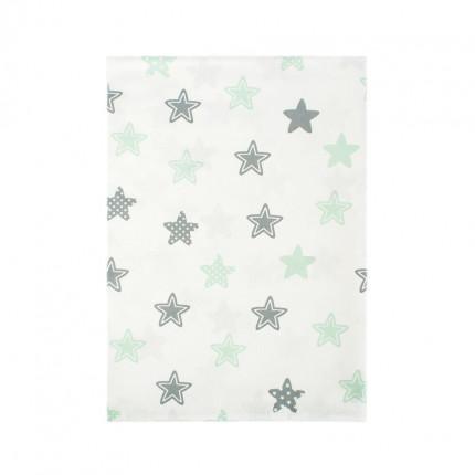 Σεντόνι Λίκνου 80X110 Dimcol Star 101 Green Χωρίς Λάστιχο