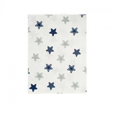 Σεντόνι Λίκνου 80X110 Dimcol Star 102 Blue Χωρίς Λάστιχο