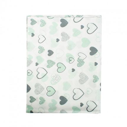 Σεντόνι Λίκνου 80X110 Dimcol Hearts 10 Green Χωρίς Λάστιχο