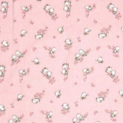 Σεντόνι Φανελένιο Λίκνου 80X80 Dimcol Birds 15 Ροζ Χωρίς Λάστιχο