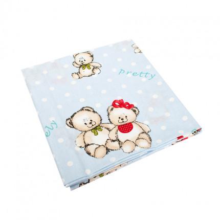 Σεντόνια Κούνιας (Σετ) 120X160 Dimcol Two Lovely Bears 64 Blue Χωρίς Λάστιχο