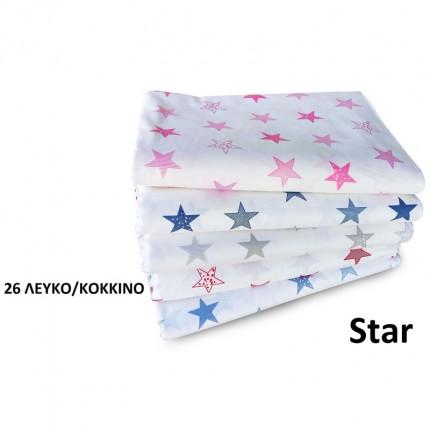 Σεντόνια Κούνιας (Σετ) 120X160 Dimcol Star 26 Κόκκινο Χωρίς Λάστιχο