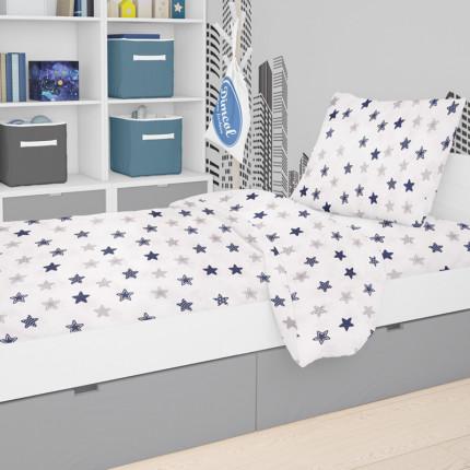 Σεντόνια Κούνιας (Σετ) 120X160 Dimcol Star 102 Blue Χωρίς Λάστιχο
