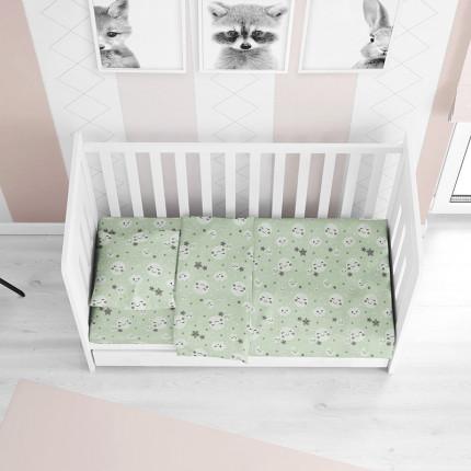 Σεντόνια Κούνιας (Σετ) 120X160 Dimcol Smile 80 Green Χωρίς Λάστιχο