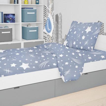 Σεντόνια Φανελένια Κούνιας (Σετ) 120X160 Dimcol Star 37 Blue Χωρίς Λάστιχο