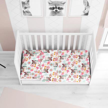 Παπλωματοθήκη Μεμωνομένη Κούνιας 120X160 Dimcol Girls 58 Pink