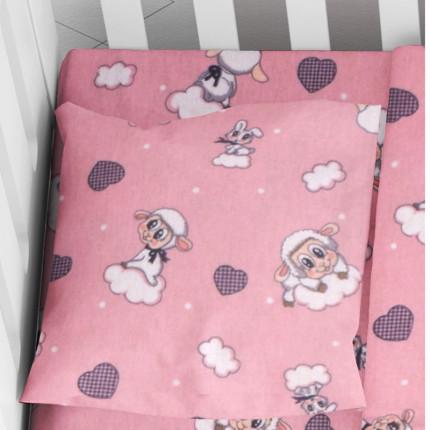 Φανελένια Μαξιλαροθήκη Τεμάχιο 35X45 Dimcol Προβατάκι 05 Pink