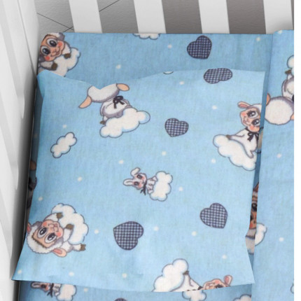 Φανελένια Μαξιλαροθήκη Τεμάχιο 35X45 Dimcol Προβατάκι 06 Sky Blue