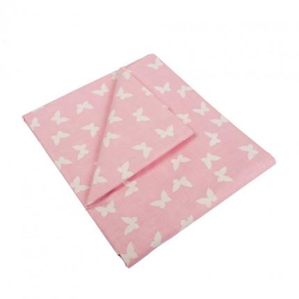 Σεντόνια Μονά (Σετ) 160X240 Dimcol Butterfly 50 Pink Χωρίς Λάστιχο