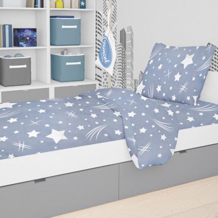 Σεντόνια Φανελένια Μονά (Σετ) 160X240 Dimcol Star 37 Blue Χωρίς Λάστιχο