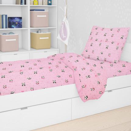 Παπλωματοθήκη Μεμωνομένη Μονή 160X240 Dimcol Panda 111 Ροζ