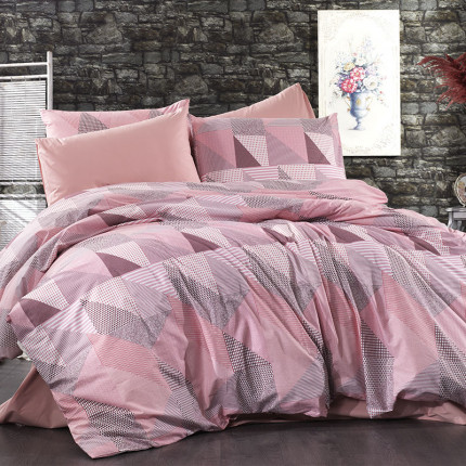 Σεντόνια Φανελένια Υπέρδιπλα (Σετ) 220X240 Dimcol Geometrical 331 Pink-Salmon Χωρίς Λάστιχο