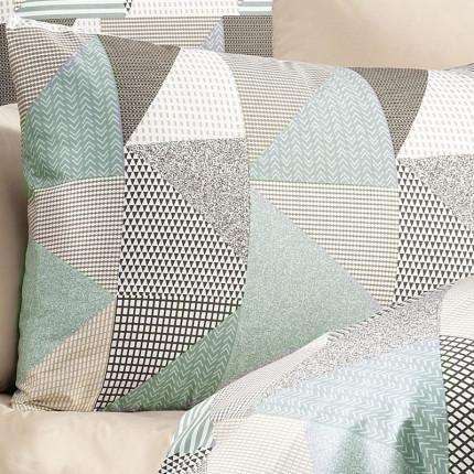 Φανελένια Μαξιλαροθήκη 50X70 Dimcol Geometrical 330 Green-Beige