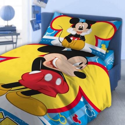 Σεντόνια Μονά (Σετ) 160X250 Dimcol Disney Mickey 560 Μπλε Χωρίς Λάστιχο
