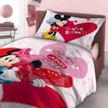 Σεντόνια Μονά (Σετ) 160X250 Dimcol Disney Minnie 550 Ροζ Χωρίς Λάστιχο