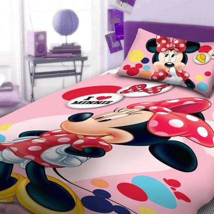 Σεντόνια Μονά (Σετ) 165X245 Dimcol Disney Minnie 953 Ροζ Χωρίς Λάστιχο