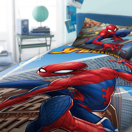 Σεντόνια Μονά (Σετ) 165X245 Dimcol Disney Spiderman 913 Μπλε Χωρίς Λάστιχο