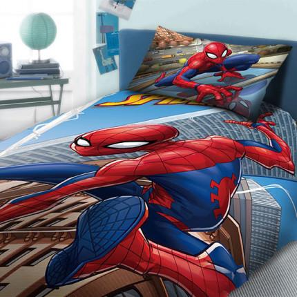 Σεντόνια Μονά (Σετ 2 Τμχ) 165X245 Dimcol Disney Spiderman 912 Μπλε Χωρίς Λάστιχο