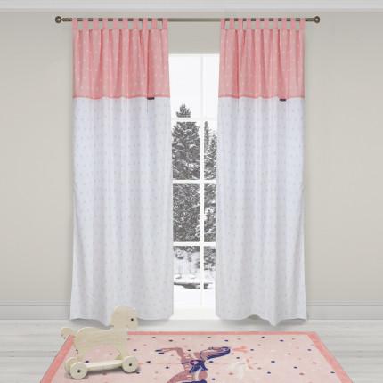 Κουρτίνα Με Θηλιές 140x260 Greenwich Polo Club Essential 2902 Λευκο-Ροζ