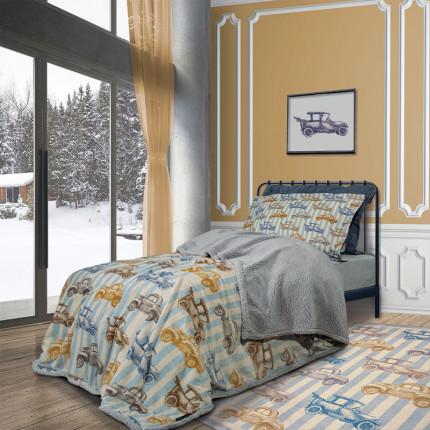 Κουβέρτα Fleece Μονή 160x220 Greenwich Polo Club Essential 2925 Σιελ-Μπεζ