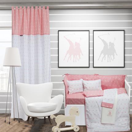 Παπλωματοθήκη Κούνιας (Σετ) 120x160 Greenwich Polo Club Essential 2902 Λευκο-Ροζ