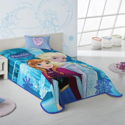 Κουβέρτα Βελουτέ Μονή 160X220 Dimcol Disney Frozen 500 Σιελ
