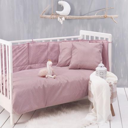 Παπλωματοθήκη Κούνιας (Σετ) 110X160 Rythmos Dotty Baby Ροζ