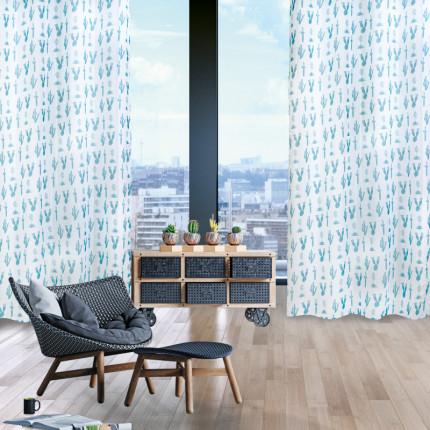 Κουρτίνα Με Τρουκς 140x260 Das Home Curtain 2111 Λευκο-Πετρολ