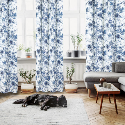 Κουρτίνα Με Τρουκς 140x260 Das Home Curtain 2115 Εκρου-Μπλε-Γκρι