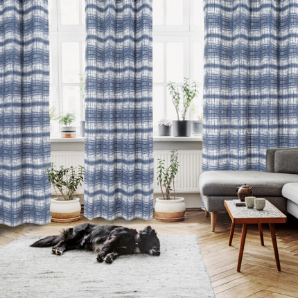 Κουρτίνα Με Τρουκς 140x260 Das Home Curtain 2117 Εκρου-Μπλε