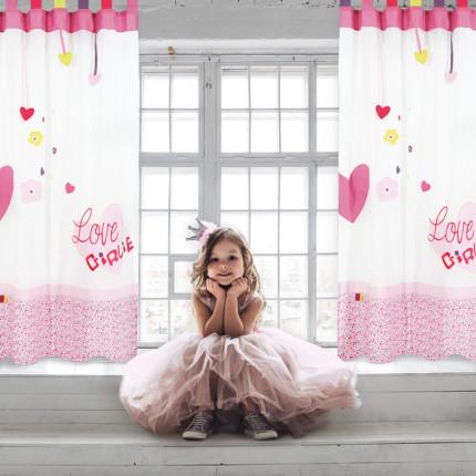 Κουρτίνα Με Θηλιές 140x260 Das Home Curtain 2124 Εκρου-Ροζ-Ροδι
