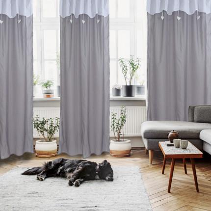 Κουρτίνα Με Θηλιές 140x260 Das Home Curtain 2144 Λευκο-Γκρι