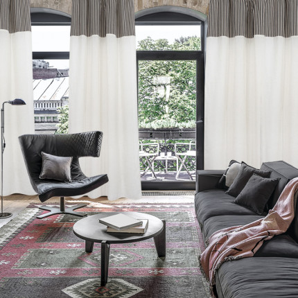 Κουρτίνα Με Θηλιές 140x260 Das Home Curtain 2165 Εκρου-Μαυρο