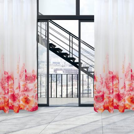 Κουρτίνα Με Τρουκς 140x280 Das Home Curtain 2034 Λευκο-Κοκκινο-Πορτοκαλι