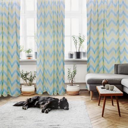Κουρτίνα Με Τρέσα 140x280 Das Home Curtain 2045 Εκρου-Μεντα-Λαχανι