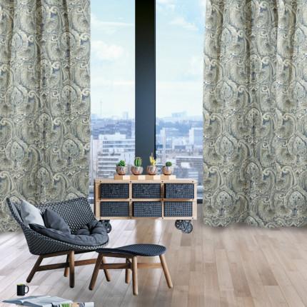 Κουρτίνα Με Τρουκς 140x280 Das Home Curtain 2057 Καφε-Μπλε-Μπεζ