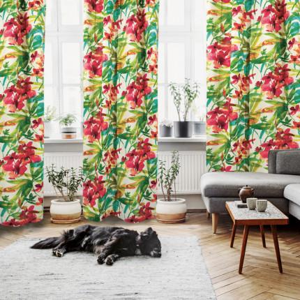 Κουρτίνα Με Τρουκς 140x280 Das Home Curtain 2058 Πρασινο-Φουξια-Κοραλι