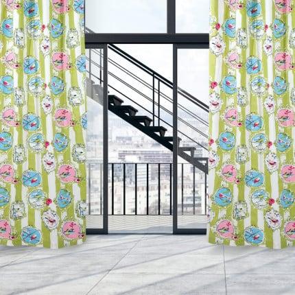 Κουρτίνα Με Τρουκς 140x280 Das Home Curtain 2059 Ροζ-Γαλαζιο-Λαχανι