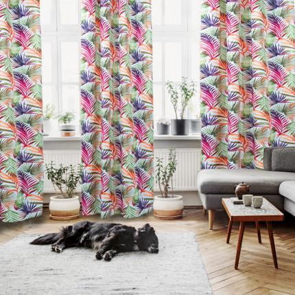 Κουρτίνα Με Τρουκς 140x280 Das Home Curtain 2062 Φουξια-Μωβ-Πρασινο