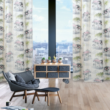 Κουρτίνα Με Τρουκς 140x280 Das Home Curtain 2063 Ροζ-Γκρι-Λαχανι