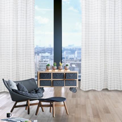 Κουρτίνα Με Τρουκς 140x280 Das Home Curtain 2074 Εκρου-Μαυρο