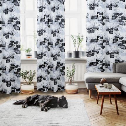 Κουρτίνα Με Τρουκς 140x280 Das Home Curtain 2075 Εκρου-Γκρι-Μαυρο