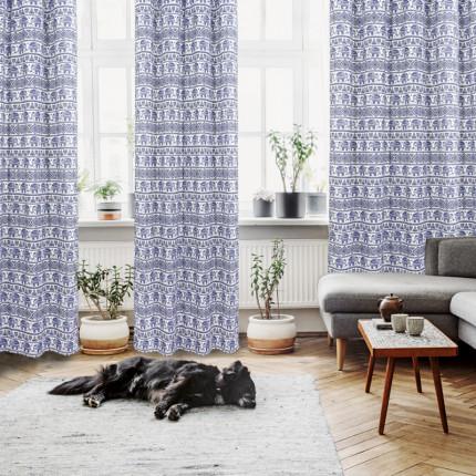 Κουρτίνα Με Τρουκς 140x280 Das Home Curtain 2100 Εκρου-Μπλε