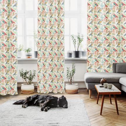 Κουρτίνα Με Τρουκς 140x280 Das Home Curtain 2105 Εκρου-Μπλε-Κοκκινο-Κιτρινο