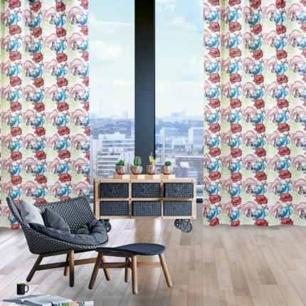 Κουρτίνα Με Τρουκς 140x280 Das Home Curtain 2106 Εκρου-Κεραμιδι-Πετρολ-Λαχανι