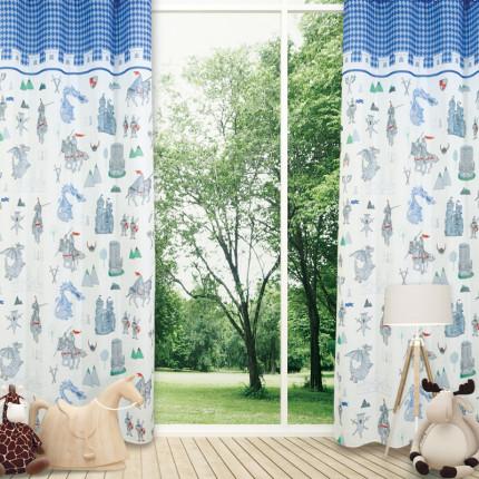 Κουρτίνα Με Τρουκς 140x280 Das Home Curtain 2121 Εκρου-Μπλε-Σιελ-Γκρι