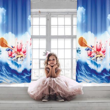 Κουρτίνα Με Τρουκς 140x280 Das Home Curtain 2122 Μπλε-Σιελ-Σομων