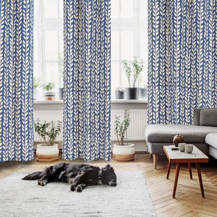 Κουρτίνα Με Τρουκς 140x280 Das Home Curtain 2128 Μπεζ-Μπλε