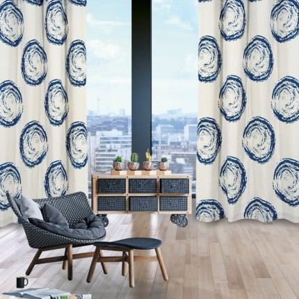Κουρτίνα Με Τρουκς 140x280 Das Home Curtain 2129 Μπεζ-Μπλε